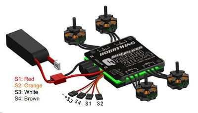 4-in-1 Speed Control Quad HOBBYWING Skywalker Quattro 20A x 4