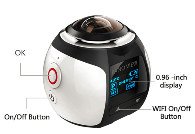 360 Action Camera Wifi Mini Panoramic Camera 2448*2448 Ultra HD