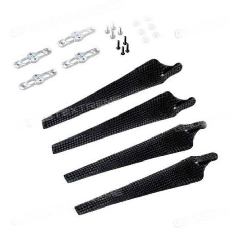 Folding Propeller CW/CCW Set 15x52 Carbon Fiber Propeller Holder
