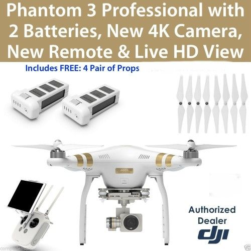 DJI Phantom 3 4K camera 2BATTER RC Drone QuadCopter RTF GPS FPV