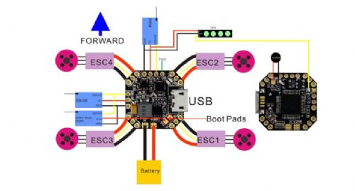 Emax STM32F303 F3 Femto Flight Controller with Integrated BEC/Bu