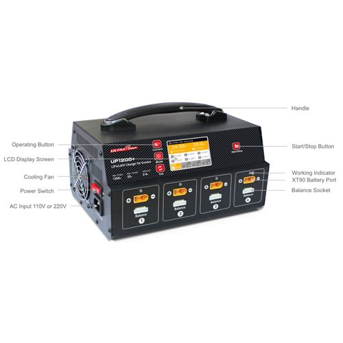 Ultra Power UP1200+ 25A 8 Channel 2-6S LiPo LiHV Battery Fast Balance Charger With Display Screen
