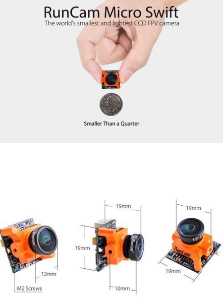 RunCam Micro Swift 600TVL 2.1mm 1/3 CCD FPV Camera NTSC 5.6g