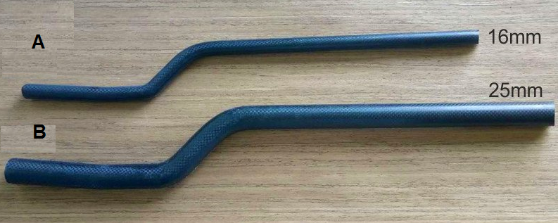 Bent carbon fiber boom tube for multi copter 25mmx23mmx600mm